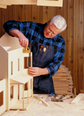 Woodworking: Man Building Doll House